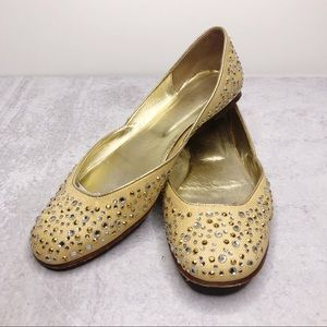 Valentino Garavani Leather Sequin D'Orsay Flats